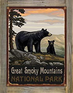 """Northwest Art Mall Great Smoky Mountains National Park Black Bear Family Rustic Metal Print on Reclaimed Barn Wood from Original Travel Artwork by Artist Paul A. Lanquist 9"""" x 12"""""""