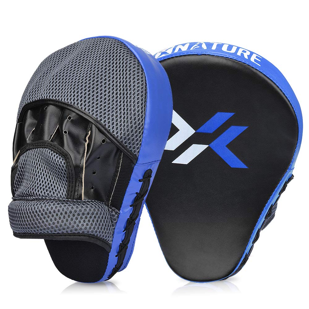 xnature Essential CurvedボクシングMMA Punching Mitts Boxingパッドフック& JabパッドMMAターゲットフォーカスPunching MittsタイStrike Kick Shield Punching Mitts A pair 青