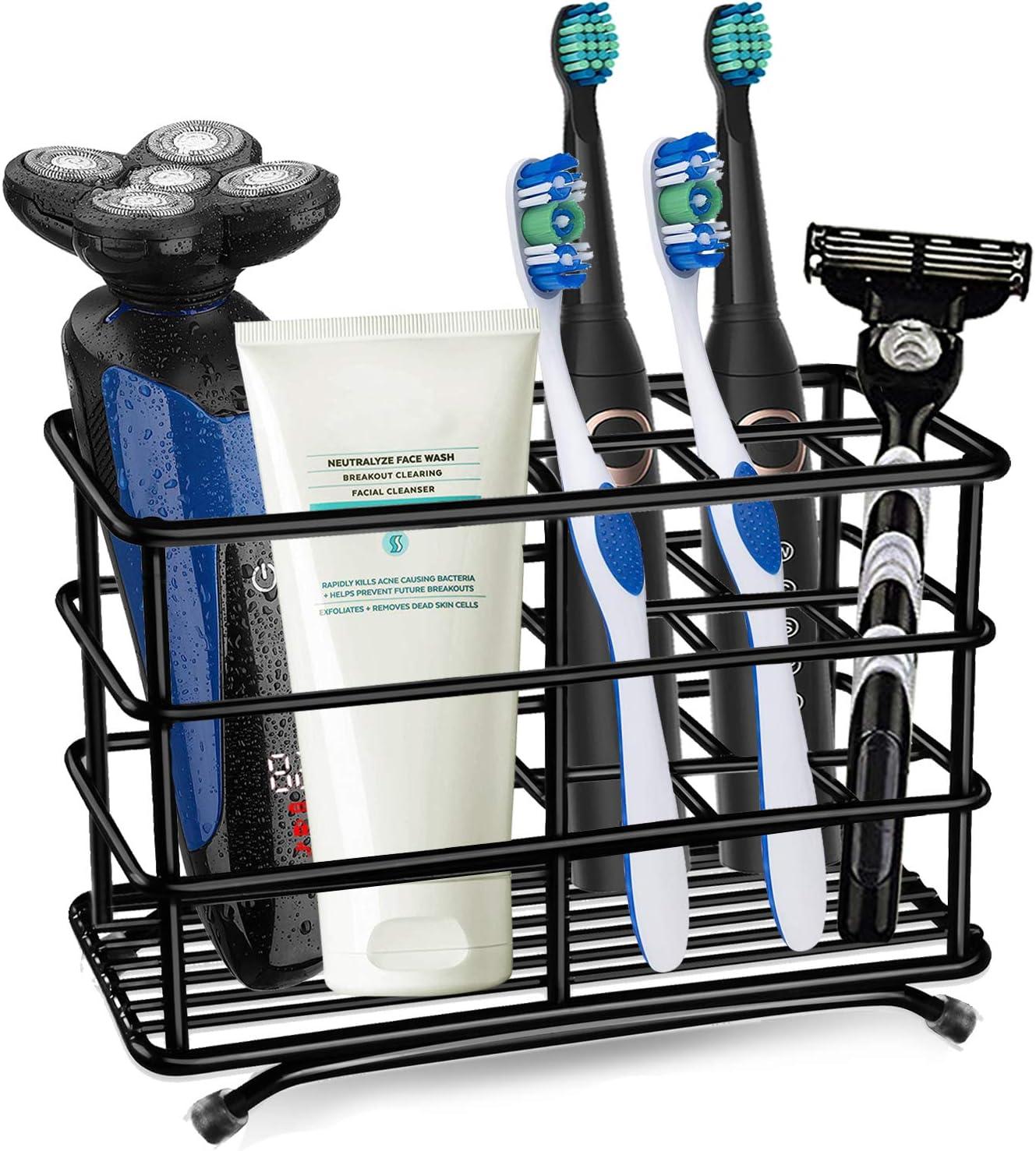 HYRIXDIRECT Toothbrush Holder Black Plating Stainless Steel Rustproof Bathroom Electric Toothbrush Holder Toothpaste Storage Organizer Multi-Functional 6 Slots Stand for Vanity,Countertops Black-01