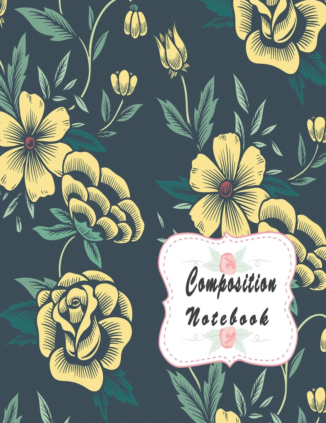 Composition Notebook Yellow Vintage Floral Background Pattern