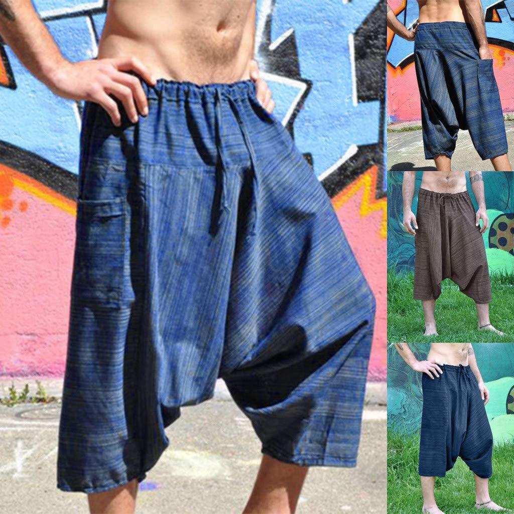 wodceeke Fashion Mens Elastic Rope Waistband Ethnic Hip-Hop Harem Pants Seven-Point Trousers Wid Leg Pants