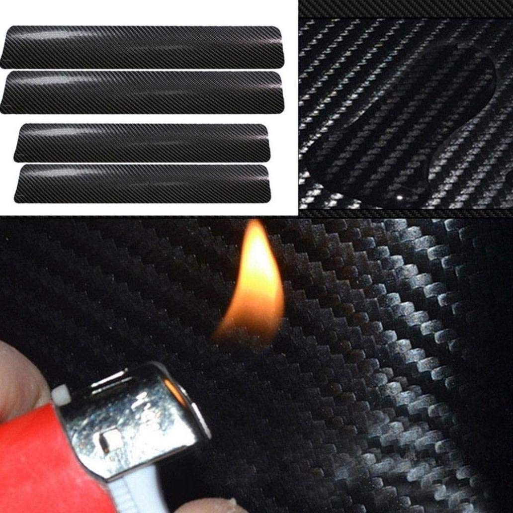 4Pcs Car Sticker 4D Carbon Fiber Auto Car Door Sill Stickers Anti-Scratch Protection Cover for Car Decor Black