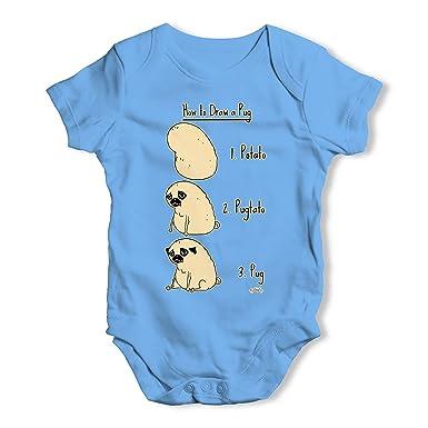 a876246608e03 TWISTED ENVY Potato Pug Baby Unisex Funny Baby Grow Bodysuit  Amazon.co.uk   Clothing