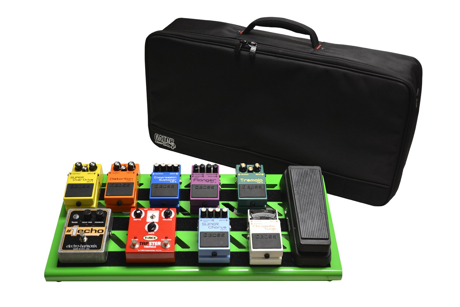 Gator GPB-BAK-GR Large Aluminum Pedal Board with Carry Bag, Screaming Green