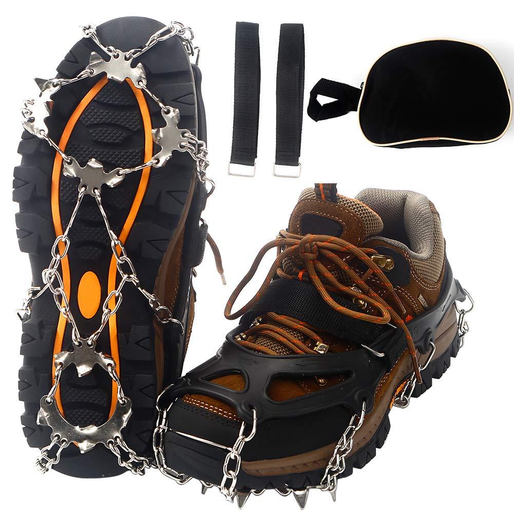 Litake Crampons 19 ステンレススチール スパイク トラクション クリート アイス スノー グリップ クライミング ハイキング ウォーキング Medium  B07KBZWZLY