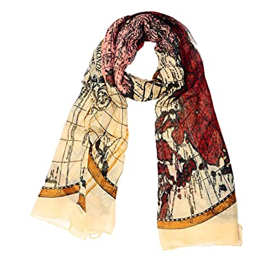 d16f79527 Long Voile Yellow World Map Compass Printed Shawl Wraps Pashmina ...
