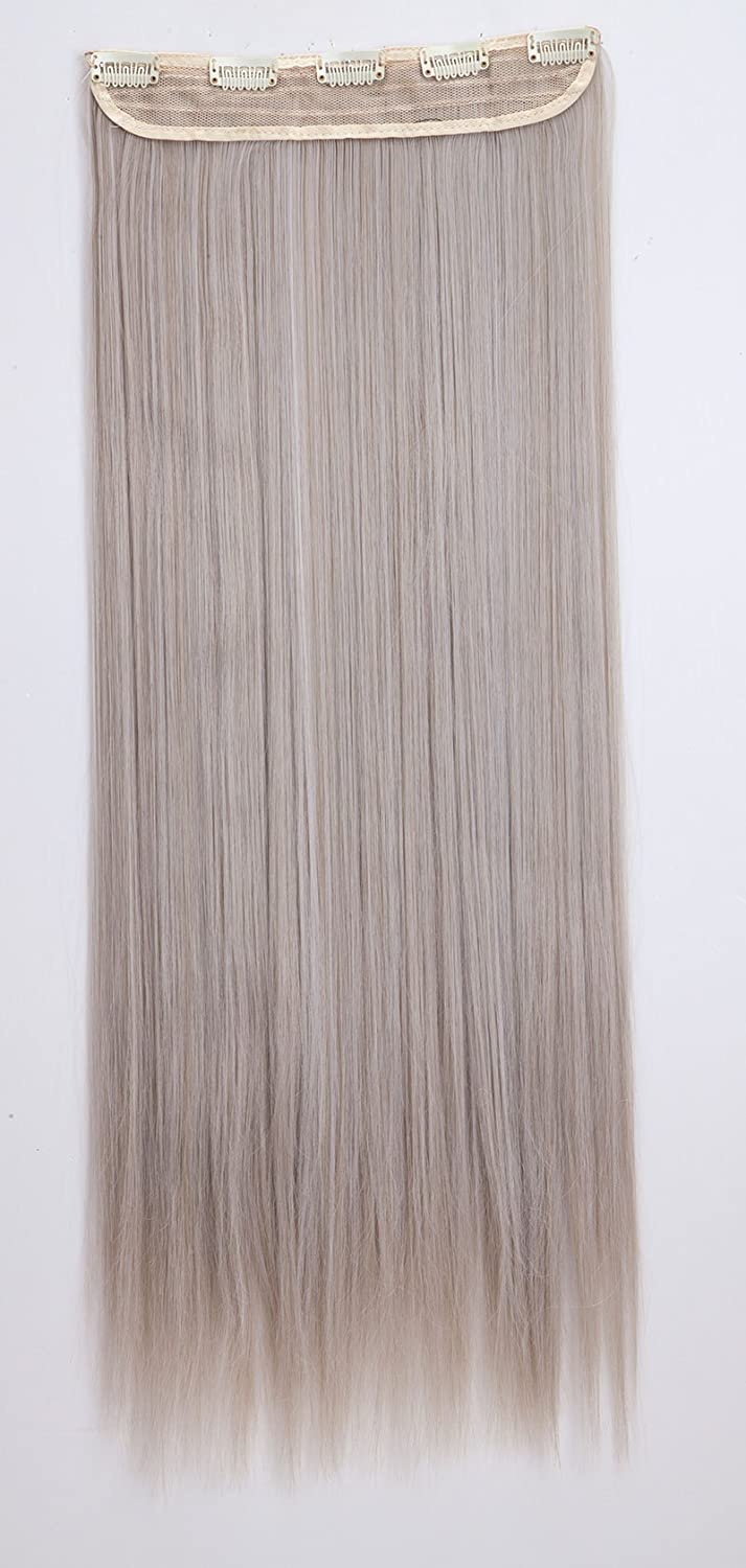 Clip in Hair Extensions 26 Ash Blonde mix Silver Grey Long Straight 3/4 Full Head One Piece 5 Clips 140g Best for Women Rich Choices
