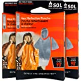 S.O.L. Survive Outdoors Longer S.O.L. Heat Reflective Waterproof Poncho (Pack of 3)