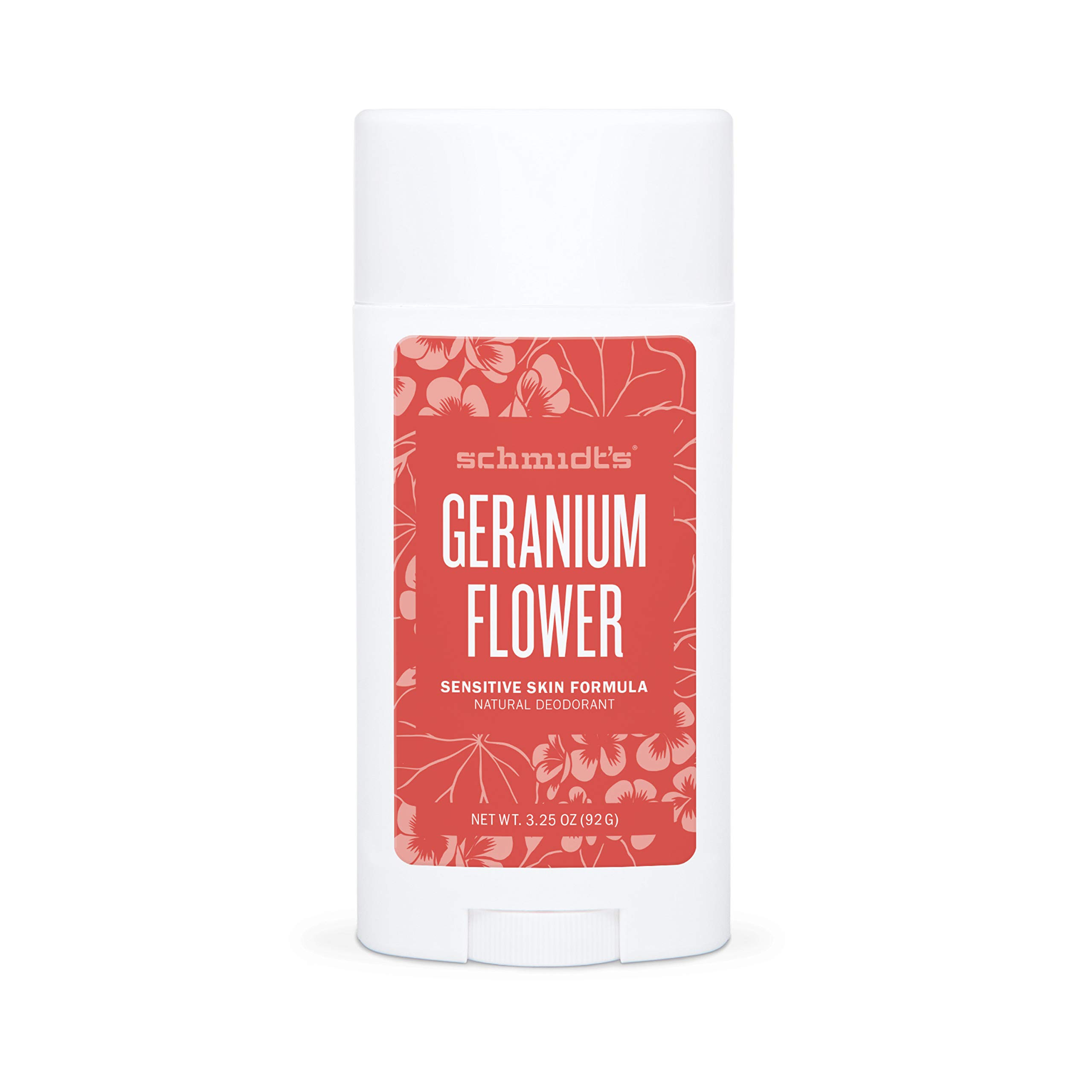 Schmidt's Aluminum Free Natural Deodorant for Women and Men, Geranium Flower for Sensitive Skin with 24 Hour Odor Protection, Certified Cruelty Free, Vegan Deodorant, 3.25 oz