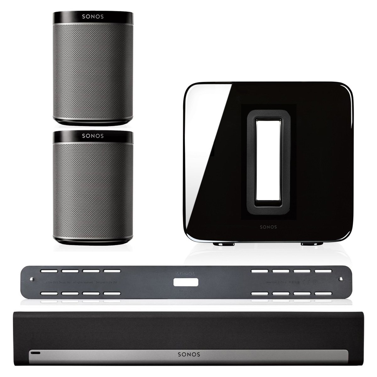 Sonos 5.1 Home Theater System Bundle - PLAYBAR, Wall Mount Kit for PLAYBAR, Wireless SUB & PLAY:1 Pair (Black) by Sonos