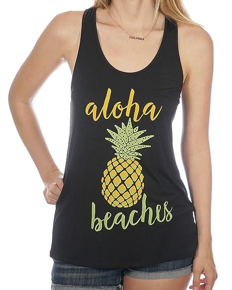 695031941e Aloha Beaches Tropical Yellow & Green Pineapple Women's Summer Tank Top ...