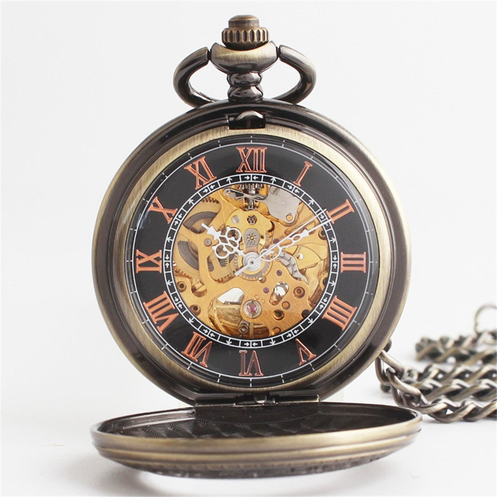 Zxcvlina Classic Smooth Exquisite Bronze Retro Pocket Watch Boutique Carved Unisex Mechanical Pocket Watch with Chain Suitable for Gift Giving by Zxcvlina (Image #4)