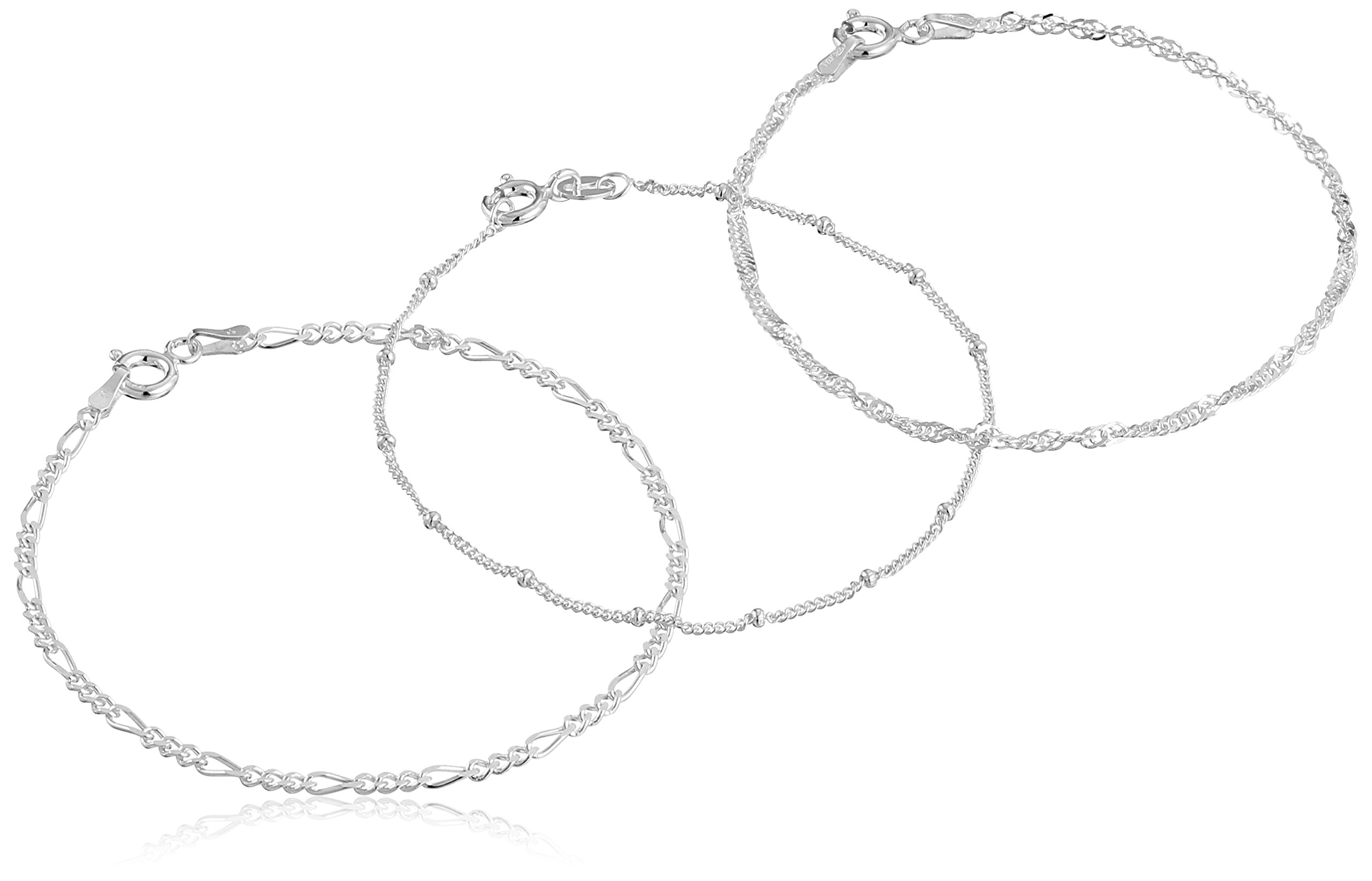 .925 Sterling Silver Figaro, Bead Station and Singapore Chain Bracelet Set size 7'' by Amazon Collection