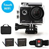 YOTOPT S305 Action camera - 16MP LCD 4K 2 Inch Touch Screen 30 M waterproof Sport DV with Dual Rechargeable 1050mAh Batteries Portable Package (Black)