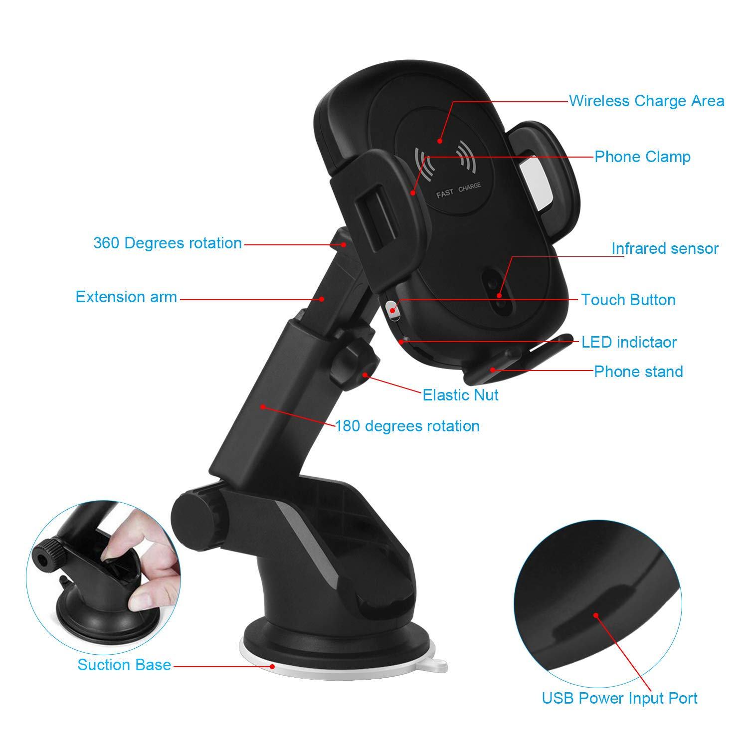 Wireless Car Charger,Sunvook Automatic Car Charger Air Vent Phone Holder Mount Stand Car Charger Automatic Infrared Sensing Holder 10W Fast Wireless Car Charger for Samsung Galaxy S8 S8 Plus S7 S7 Edge Note 8/5 Standard Charge for iPhone X/