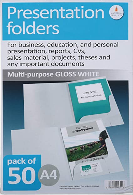 50 Corporate /& Presentation White Matt Presentation Folders A4 Size Pack