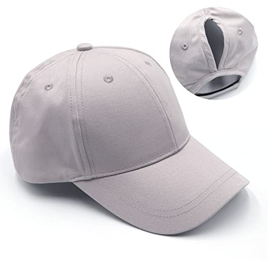 54c42577639 Womens Ponytail Baseball Hat Messy High Buns Ponycap Plain Cotton Dad Hat  for Girls