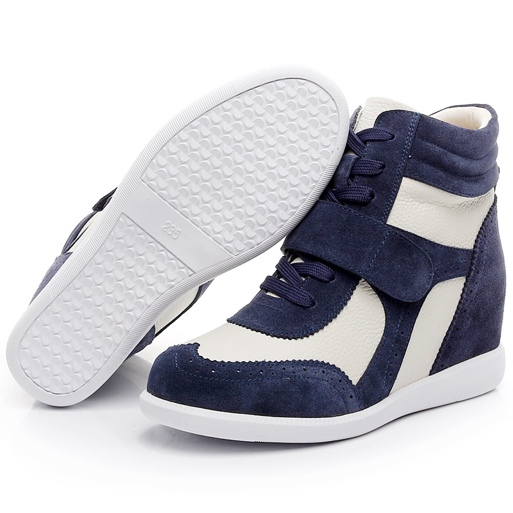 rismart Women's Wedge Casual Hook&Loop Fabric&Suede Leather Fashion Sneakers B074PRD2S2 5.5 B(M) US|Navy&beige