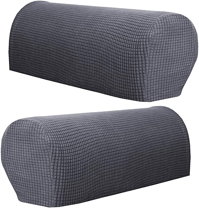Set of 2 Premium Furniture Armrest Covers Sofa Couch Chair Arm Protectors - Gray