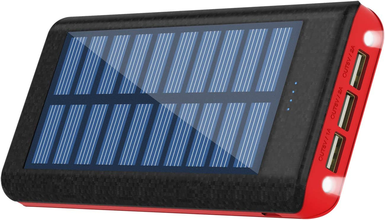 Solar Charger Power Bank 25000 mAh Portable Charger 3 Output Battery Pack with Flashlight Compatible Android Phone Tablet and Other Smart Devices