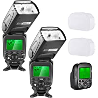 Neewer 2-Pack 2.4G Wireless 1/8000s HSS TTL GN58 Flash Speedlite Master Slave with Trigger Transmitter for Sony Cameras with New Mi Hot Shoe Like A7 A7R A7S A7II A7RII A7SII A6000 A6300(NW630)