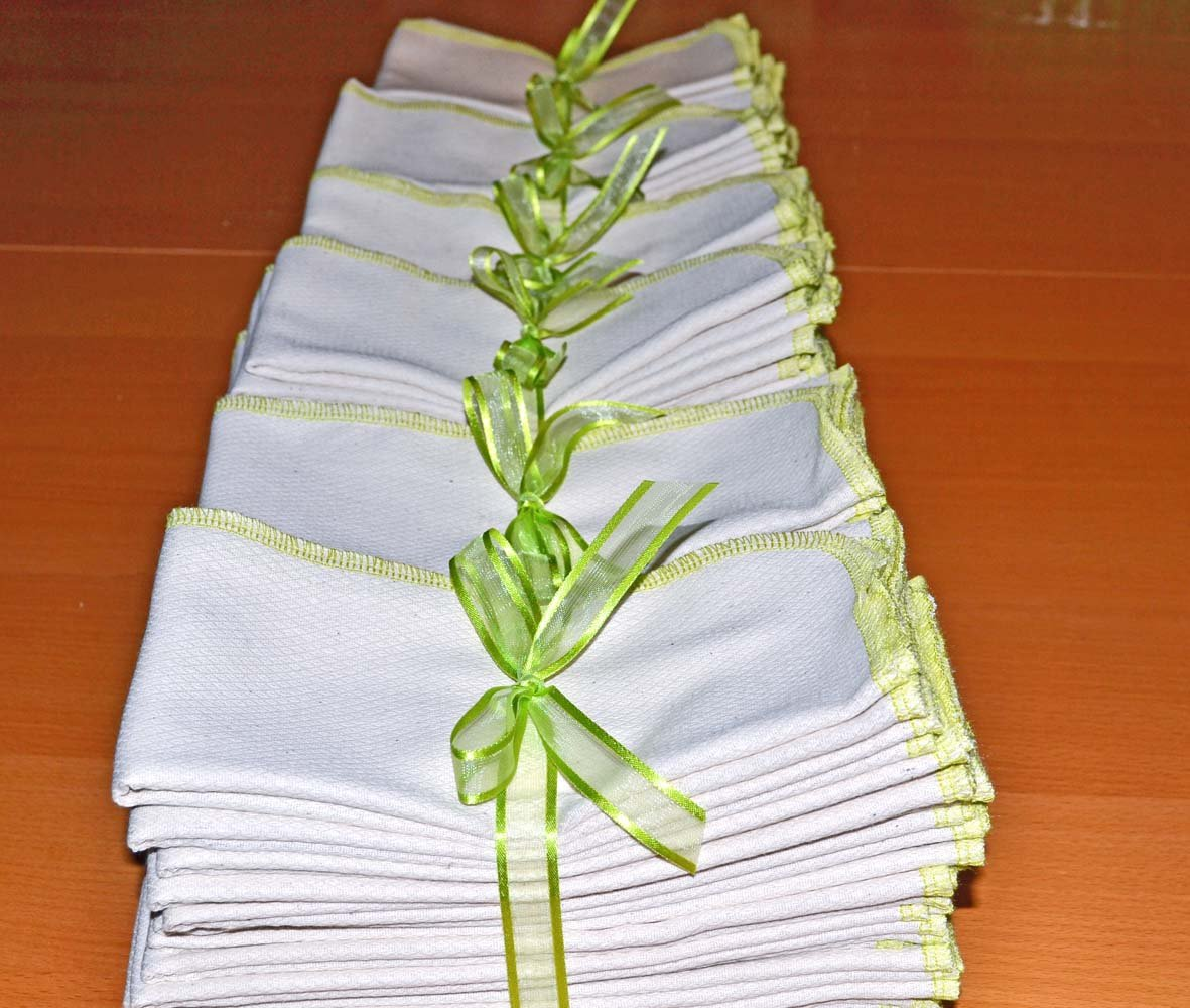 1 Ply Organic Birdseye Paperless Towels 40 Pack - Your choice of color for the edges by Gina's Soft Cloth Shop