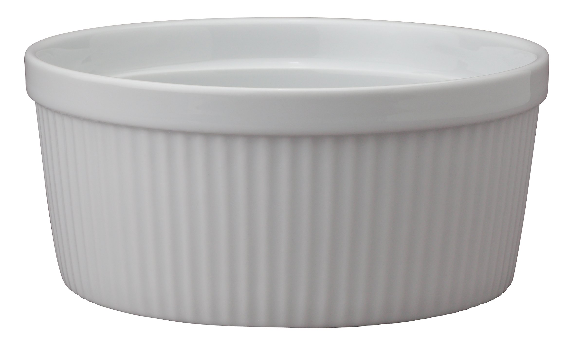 HIC Souffle, Fine White Porcelain, 7.5-Inch, 48-Ounce, 1.5-Quarts Capacity by HIC Harold Import Co.
