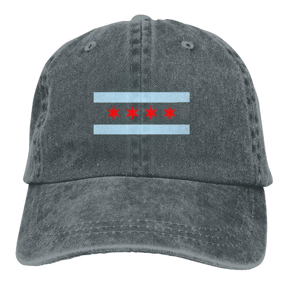 Chicago State Flag Plain Adjustable Cowboy Cap Denim Hat for Women and Men