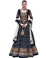 BMR Women's Faux Georgette Dress Material (diwali black_Free Size_Black)