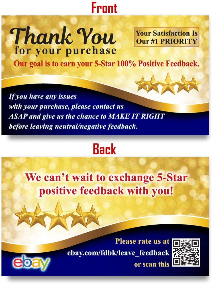 Amazon Com 200 Ebay Thank You For Your Purchase Cards Request 5 Star Positive Feedback Stickers Alternative Packaging Inserts Url Office Products