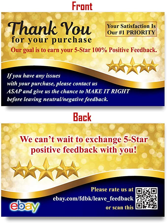 Amazon Com 200 Amazon Thank You For Your Purchase Cards Seller Feedback Request Sticker Alternative With Url Office Products