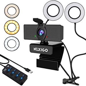 1080P Streaming Webcam with 2ft USB Hub Switch, Microphone, 3.5 Inch Dual Selfie Ring Light, Mount Stand, and Privacy Cover, for Streaming Online Class, Zoom Skype MS Teams, PC Mac Laptop Desktop