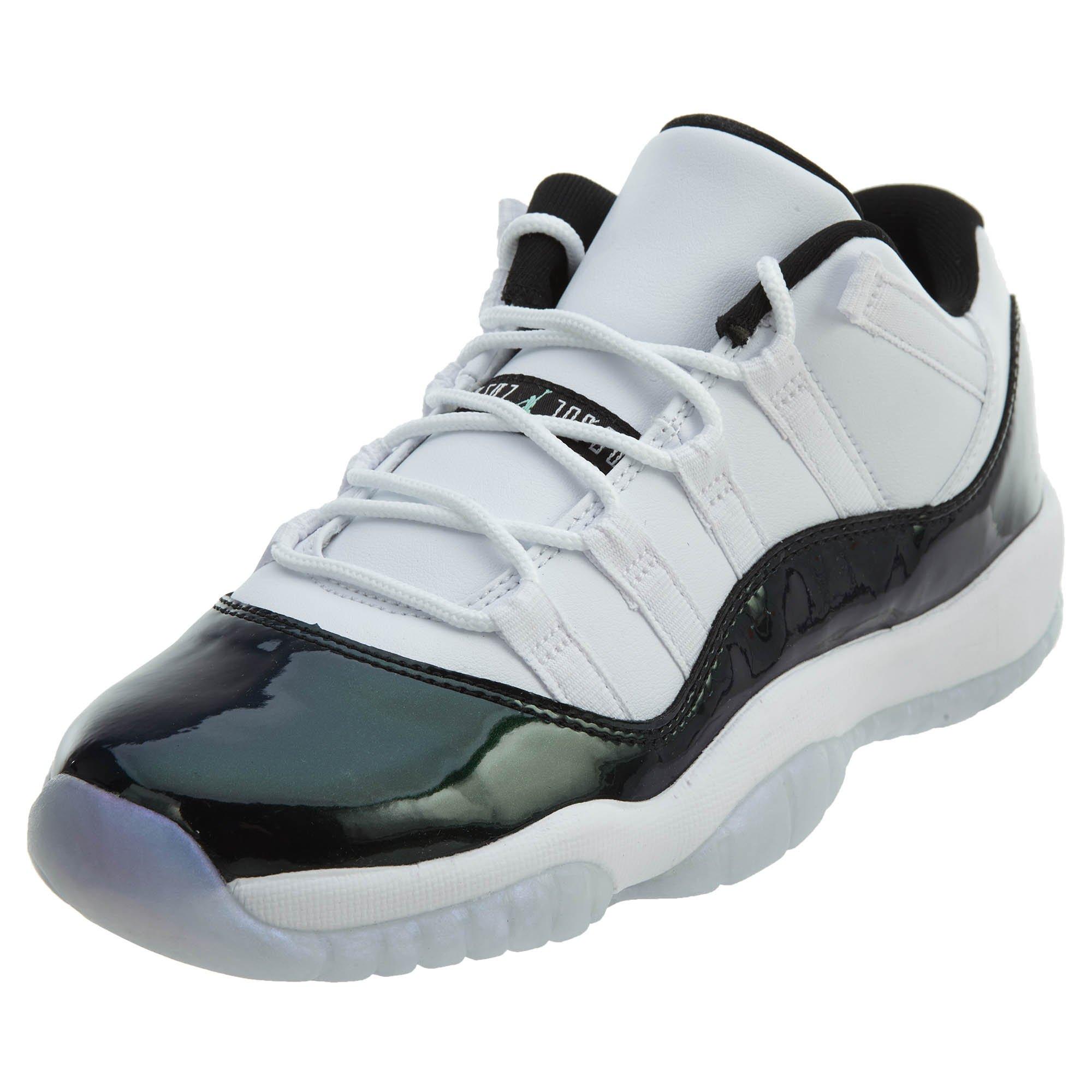 Jordan Nike Kid s Air 11 Retro Low GS White Black Emerald 528896-145 (Size   3.5Y) b119ca29b