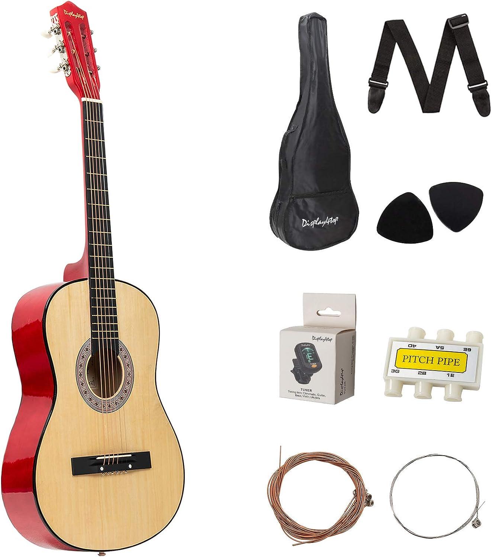 Dawoo Guitarra Acústica De 38 Pulgadas, Conjunto De Guitarra Para Amantes De La Música Para Principiantes (Color Madera)