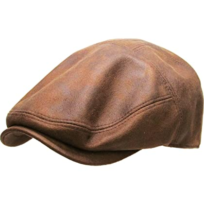 39cf64ffe83 KBL-100 LBR L XL PU Leather Ascot Ivy Newsboy Hat