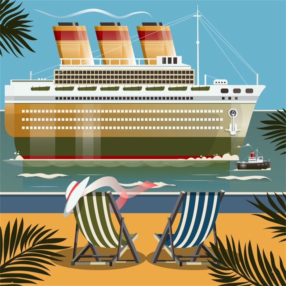 lfeey 6 x 6ft Cartoon Cruise Ship Backdrop夏ビーチCruises Steamship Voyage near the shoreデッキ椅子写真背景壁紙キッズ誕生日パーティーイベント写真Studio小道具   B07DNDKHQ9
