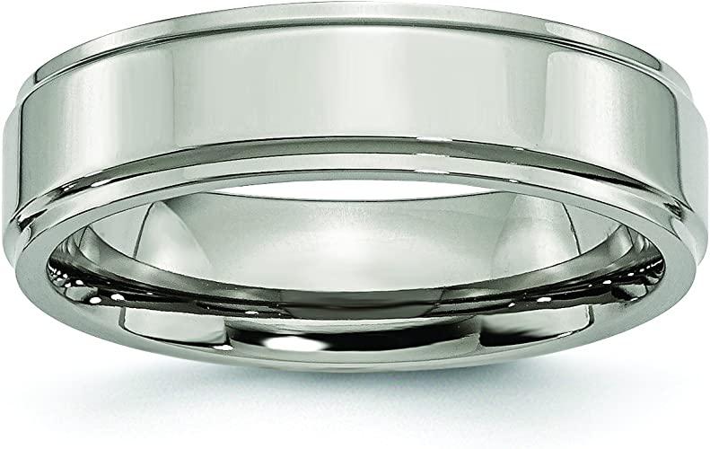 Jewelry Stores Network Mens 6mm Brushed Titanium Ridged Edge Wedding Band Ring