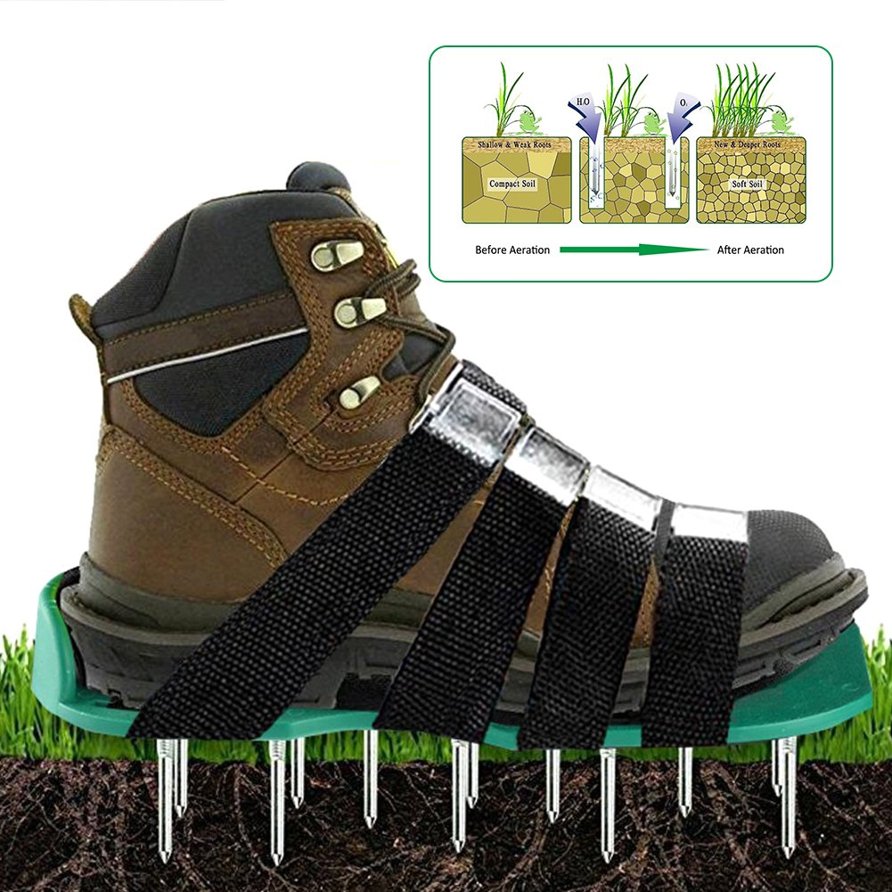 cheerfullus Garden Grass Aerator Shoes with 8 Adjustable Straps Spiked Sandals Effective Tool for Aerating Yard Soil