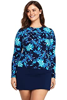 bcba3ec04 Lands' End Women's Plus Size Long Sleeve Swim Tee Rash Guard at ...
