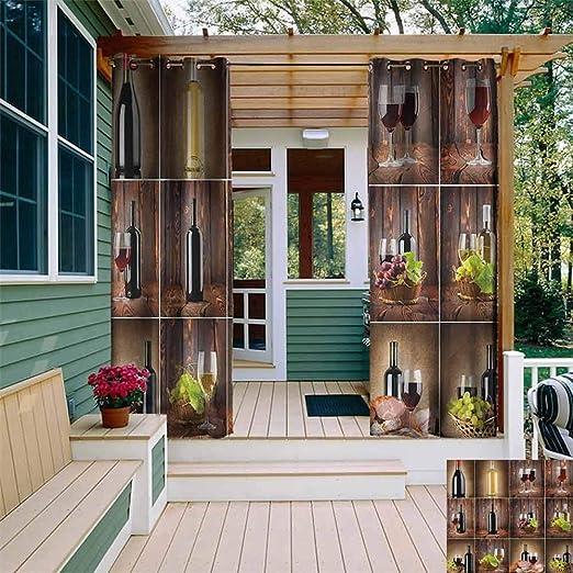 XXANS - Cortina para Puerta corredera, diseño de Botella de Vino, Color Blanco y Verde: Amazon.es: Jardín