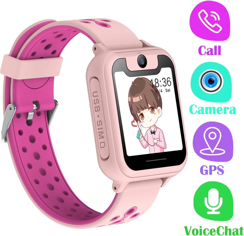 PTHTECHUS Telefono Reloj Inteligente GPS Niños - Smartwatch con Localizador GPS LBS Podómetro Juegos Despertador Camara Linterna per Niño y Niña de 3-12 Años (GPS, Rosa)