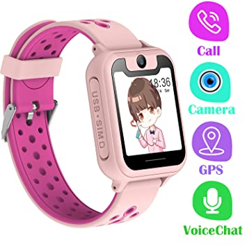 PTHTECHUS Telefono Reloj Inteligente GPS Niños - Smartwatch con Localizador GPS LBS Podómetro Juegos Despertador Camara Linterna per Niño y Niña de ...