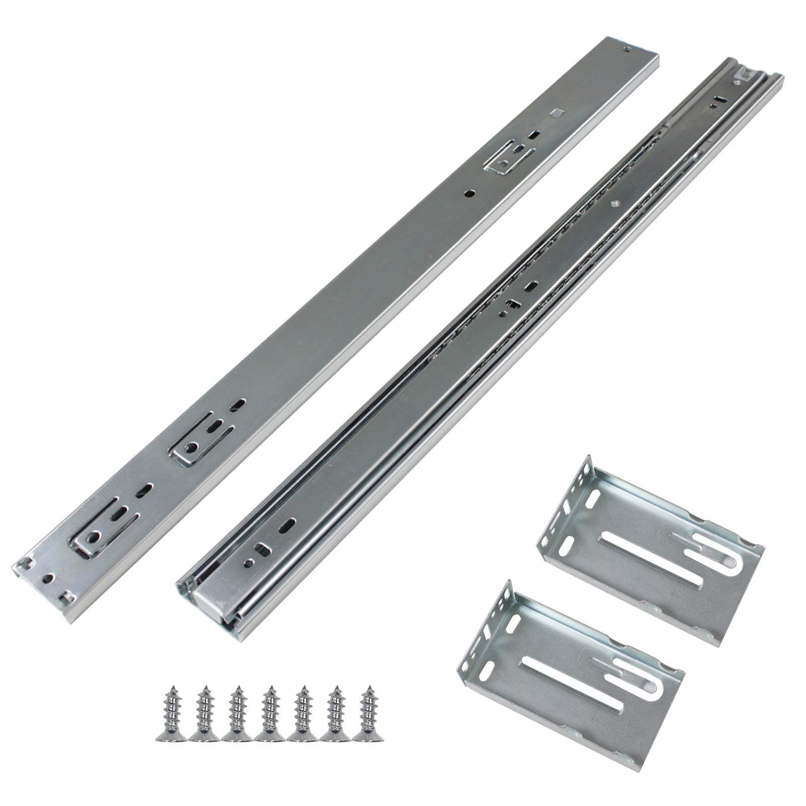Gobrico Rear/Under Mounting Drawer Slides With Brackets Soft Closing Ball Bearing 100 Lb Glides Runners Full Extension 22in 5Pairs by Gobrico (Image #1)
