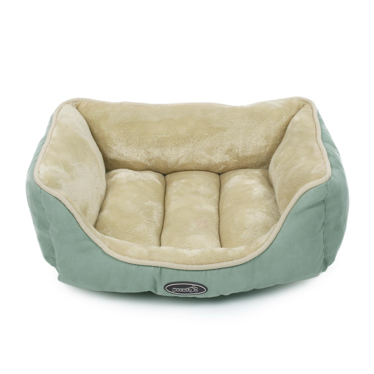 Pecute Deluxe Pet Bed for Cats and Small Dogs Rectangle Cuddler Ultra-Soft Plush Solid Pet Sleeper Machine Washable Green and Beige (Small(18.9\