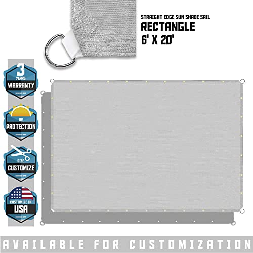 TANG Sunshades Depot 6 x20 Straight Side Sun Shade Sail 180 GSM Light Grey Patio Rectangle Shade Fabric UV Blocker Shelter Deck Dock Carport Driveway Pergola Cover Backyard Deck 3 Year Warranty