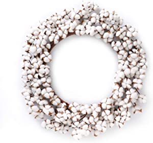 """Real Cotton Wreath - 23""""- 29"""" Adjustable Stems (As More As 110 Cotton Bolls per Wreath) Made from Natural White Cotton Flowers Bolls for Front Door Festival Hanging Decorations Welcome Decor"""