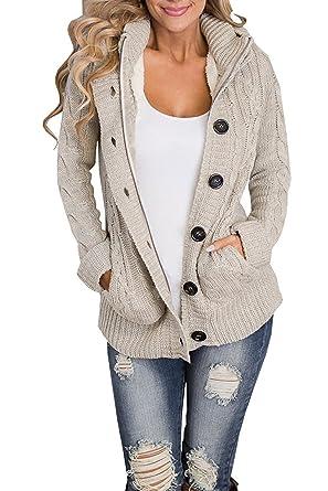 defd56a1d1e535 Ermonn Women Unisex Zipper Button Down Knitted Sweater Cardigans Hooded  Jackets (Small