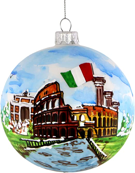 Amazon Com City Souvenirs Rome Italy Christmas Ornament Hand Painted Glass Ball Hand Blown Italian Glass Christmas Ornaments With Italy Flag Coliseum Trevi Fountain And Roman Columns Home Kitchen