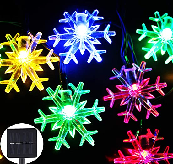 Inngree Solar Christmas String Lights 20 ft 30 LED 8 Modes Solar Snowflake Outdoor Waterproof Powered Fairy String Lights For Home Garden Parties Patio Yard Christmas Tree Decorations 1Pack,Multicolo
