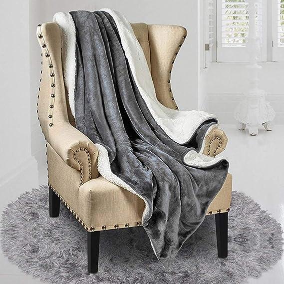 Queen Size Flannel Fleece Blanket Toute la Saison en Microfibre Extra Douce Luxueuse Couverture en Peluche pour Canap/é-Lit Lirex Couverture Polaire en Flanelle L/éger Lavable en Machine Bleu